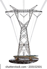 Power Transmission Line isolated on white background. This has clipping path.