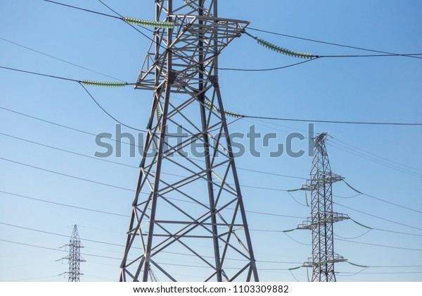 Power transmission supports. Steel structures of power transmission towers
