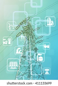 power transmission tower and smart energy, smart grid, renewable energy icons, abstract image visual