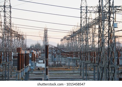 Power transmission towers line in electric power plant to bring electrical energy to the country, province or other industries.