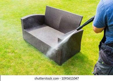 power washing garden furniture - made of rattan