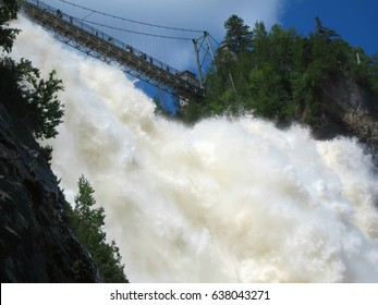 The power of water. Waterfall in Quebec, Canada