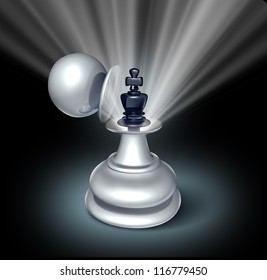 Power within and Leadership potential as an emerging business as a chess game king figurine inside a large pawn disguise as a concept for strategy of success on a star burst shinning light on black.