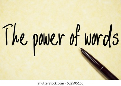 the power of words text write on paper