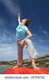 Power yoga triangle position