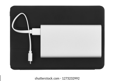 Powerbank battery charger with tablet pc. Top view.