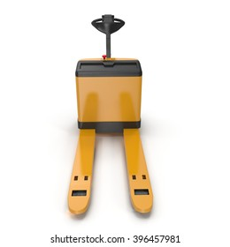 Powered Pallet Jack Yellow isolated on white