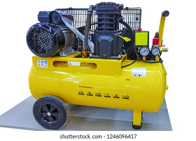 Powerful air compressor isolated on white background