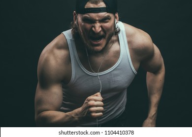 powerful angry man is eager to win. willpower concept.. strength of will