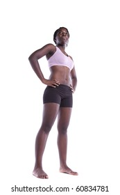 Powerful athletic african woman isolated on white