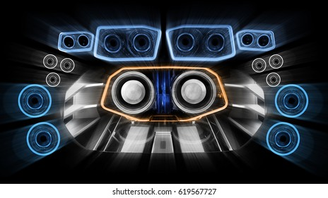 Powerful audio system with amplifiers speakers and red led light in the car trunk