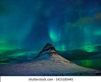 Powerful aurora borealis in Iceland