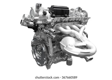 Powerful Car engine isolated on white background with clipping path