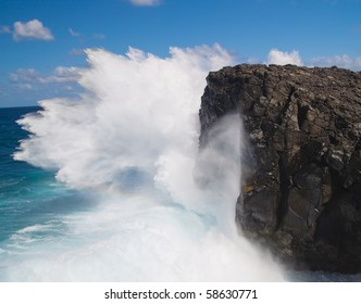 Powerful crashing waves against rocks in Mauritius