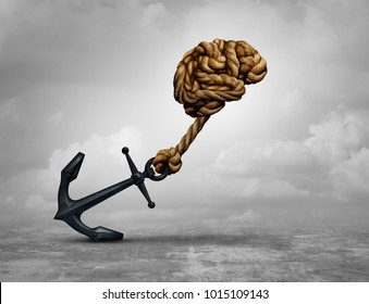 Powerful decision and power thinking concept as a human brain made of ropes pulling an anchor with 3D illustration.
