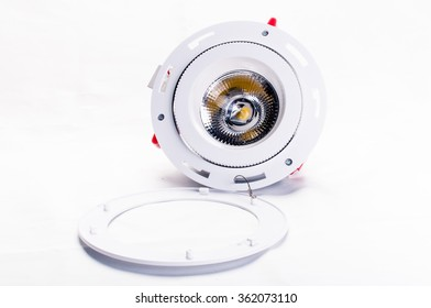 Powerful electric industrial lamp on white background