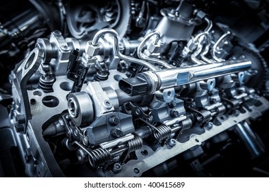 The powerful engine of a car