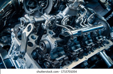 The powerful engine of a car. Internal design of engine. Car engine part. Modern powerful car engine.