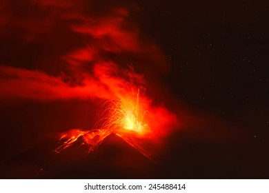 Powerful Explosion Of Tungurahua Volcano At Night, Ecuador, South America