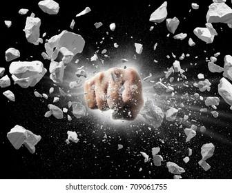 powerful fist punches until broken into debris