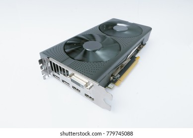 Powerful graphics card with spinning fans of cooling system isolated on white background