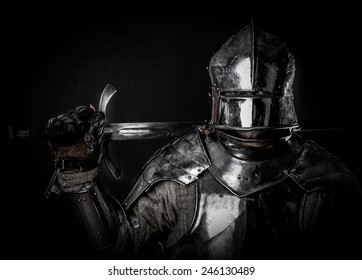 Powerful heavy fighter with sword and helmet
