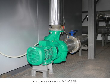 The powerful industrial pump in a boiler-house