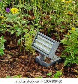 Powerful Led Spotlight In The Garden, Bottom Lighting, Or Safety System Unit