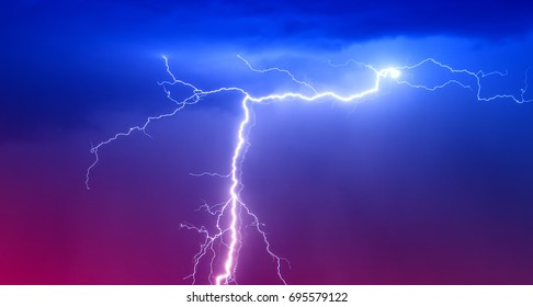 Powerful Lightning Strikes ,colorful thunder sky