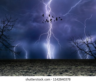 Powerful lightnings in dark stormy sky, flock of flying ravens, weather forecast concept, climate change background