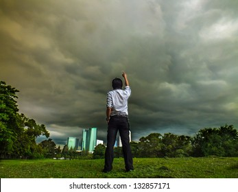 A powerful man is on fire. Being mad at the cloudy sky and demanding the thunder cloud to follow  his order. Will the heaven or god punish him?