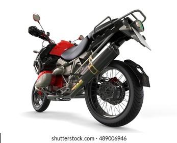 Powerful motorcycle - rear wheel closeup shot - 3D Illustration