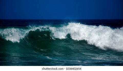 powerful ocean waves breaking by the shore natural weather background