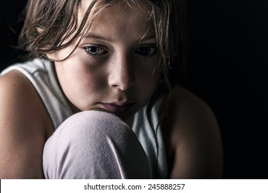 Powerful Shot of Sad Child