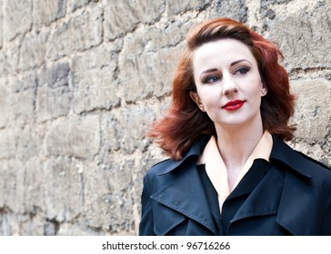 powerful shot of a vintage 1950s styled model