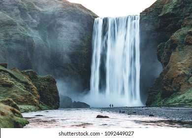 Powerful stream of the famous Skogafoss waterfall. Location place Skoga river, Iceland, Europe. Scenic image of popular tourist attraction. Travel destination concept. Discover the beauty of earth.
