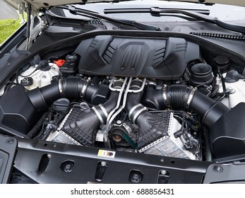 Powerful strong engine of an expensive modern sports car on display