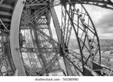 Powerful structure of Eiffel Tower, wide angle view.