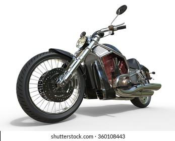 Powerful Vintage Motorcycle - Red Engine