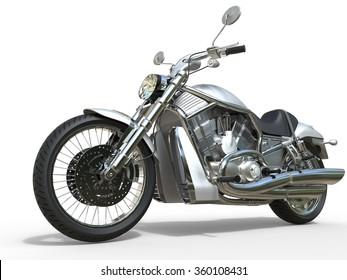 Powerful Vintage Motorcycle - White