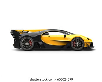 Powerful Yellow Super Race Car   Side View   3D Illustration
