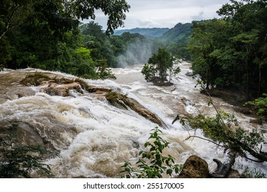 Powerfull landscape of a river in motion after a big rain. Traveling America, Mexico.