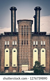 The powerhouse, ancient industrial brick building in Jersey city, New Jersey, USA - Shutterstock ID 1276739890