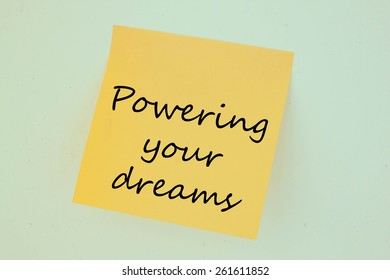powering your dreams on the short note texture background