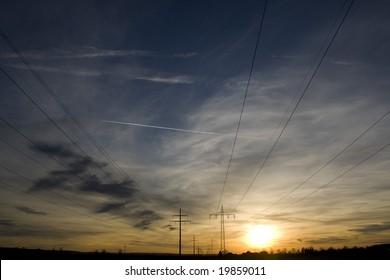 Powerline in sunset