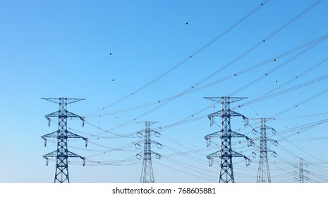 The power-line tower is erect.