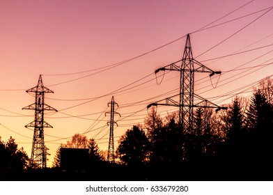 Powerlines in sunrise