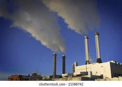 power-plant with smoking chimneys. Heavy industry