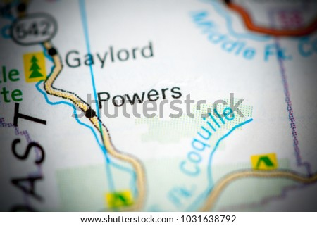 Powers Oregon Usa On Map Stock Photo Edit Now 1031638792