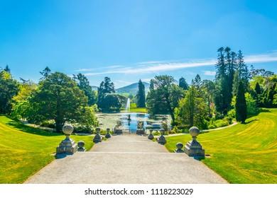 POWERSCOURT, IRELAND, MAY 10, 2017: View over Powerscourt gardens towards Sugarloaf mountain in Ireland